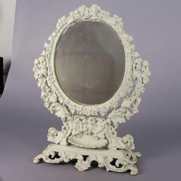 Antique French Rococo Grape & Leaf Painted Cast Iron Table Mirror, circa 1890 In Good Condition For Sale In Big Flats, NY