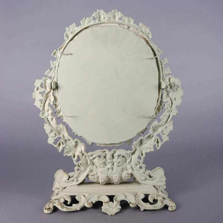 Antique French Rococo Grape & Leaf Painted Cast Iron Table Mirror, circa 1890 For Sale 1