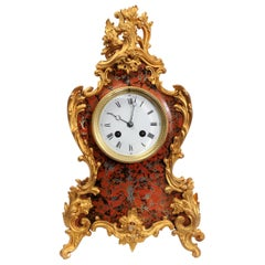Antique French Rococo Red Lacquer and Gilt Clock