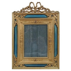 Antique French Rococo Revival Gilt Bronze and Blue Enamel Picture Frame