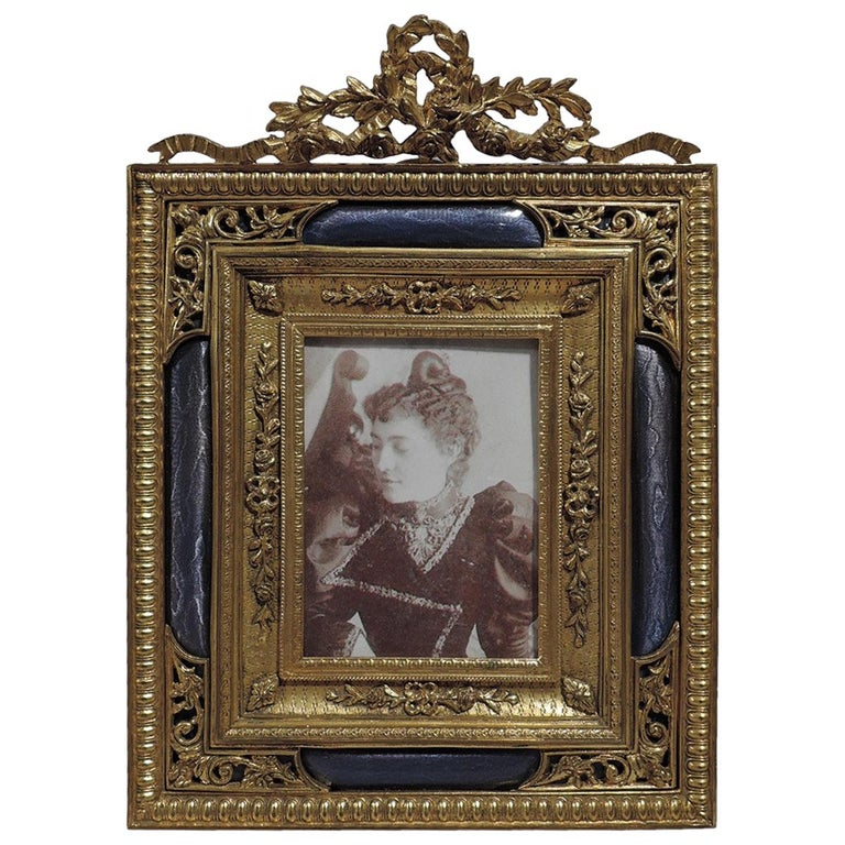 Antique French Rococo Revival Gilt Bronze and Lilac Enamel Picture Frame
