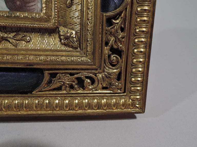 Antique French Rococo Revival Gilt Bronze and Lilac Enamel Picture Frame In Excellent Condition In New York, NY