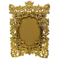 Antique French Rococo Style Bronze D'Oré Picture Frame