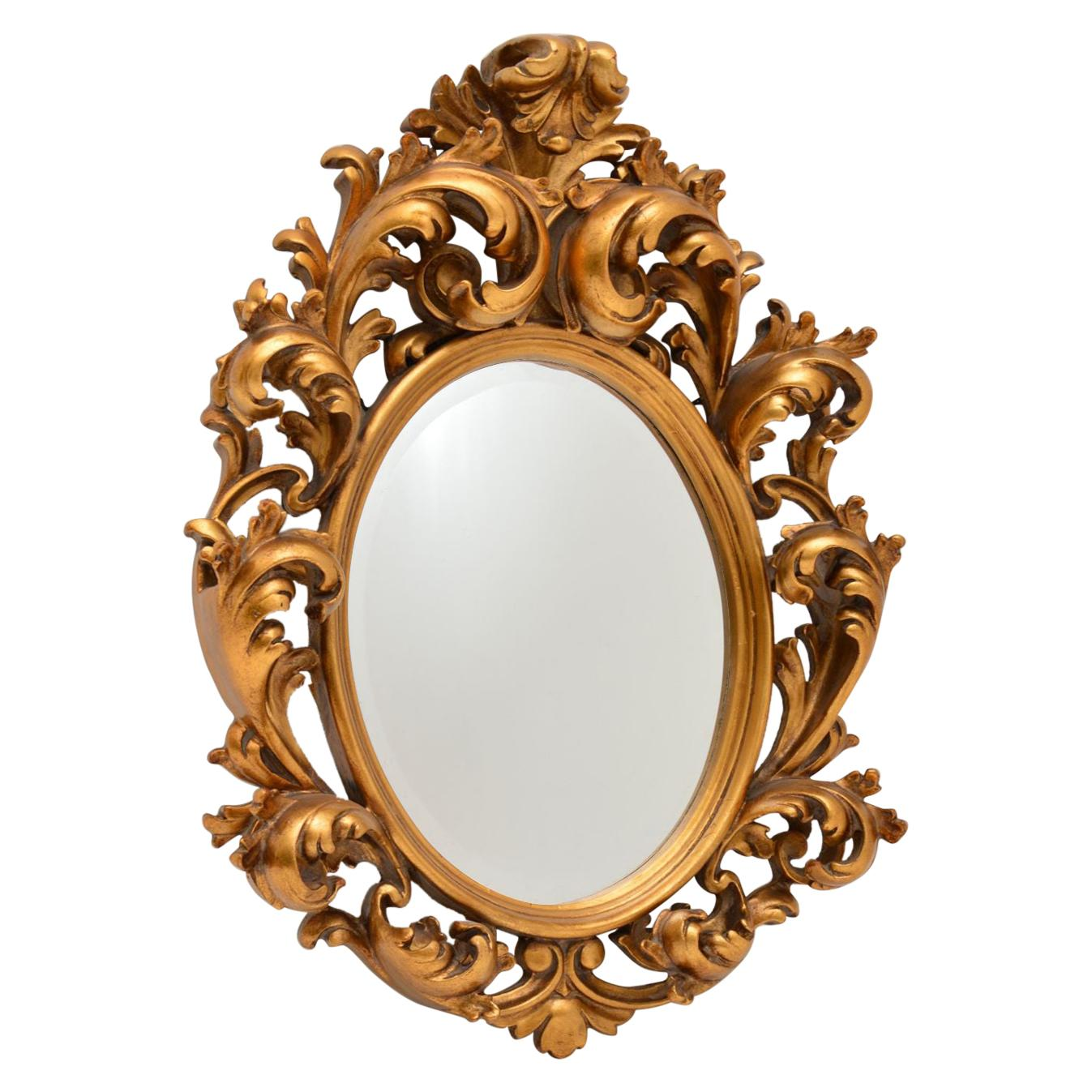 Antique French Rococo Style Gilt Wood Mirror