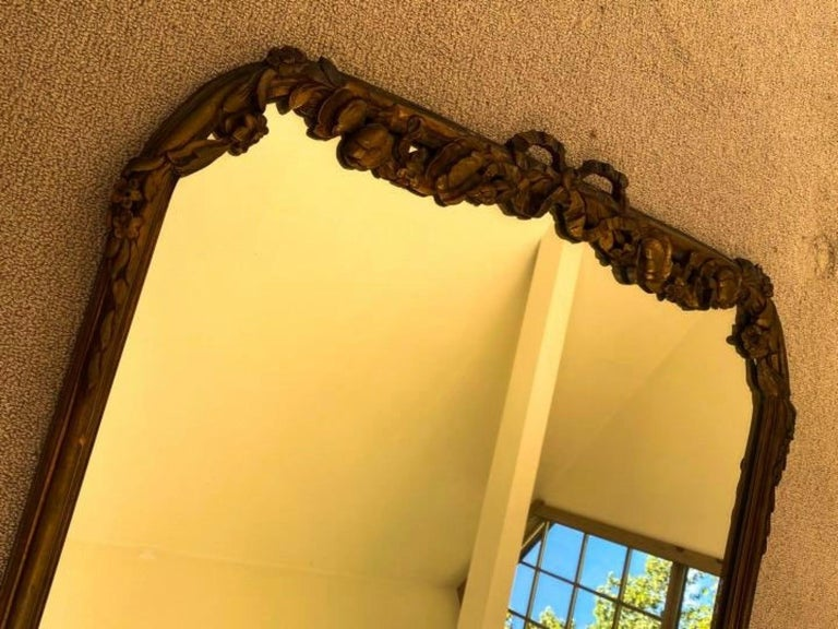 Hand-Carved Antique French Rococo Style Mirror For Sale