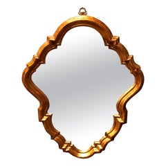 Antique French Rococo Stylized Shield Form Giltwood Wall Mirror, circa 1920