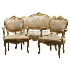 Antique French Rococo Three Piece Giltwood & Tapestry Parlor Set, Circa 1900