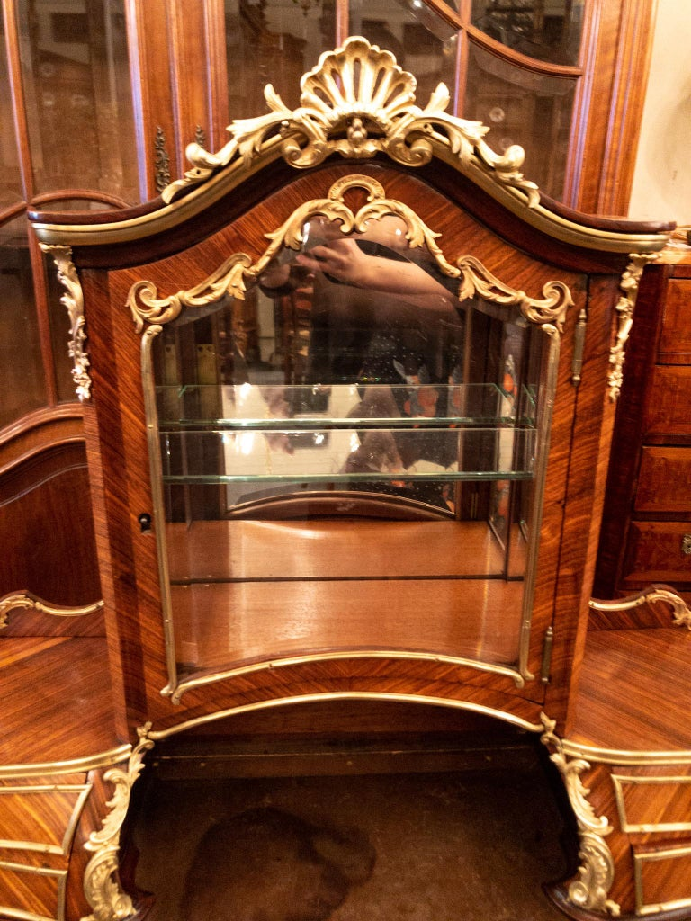 Antique French Rosewood and Gold Bronze Writing Desk, circa 1880-1890 In Good Condition For Sale In New Orleans, LA