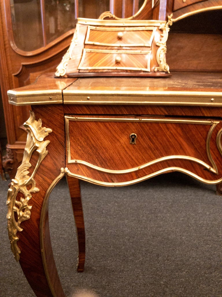 Antique French Rosewood and Gold Bronze Writing Desk, circa 1880-1890 For Sale 3