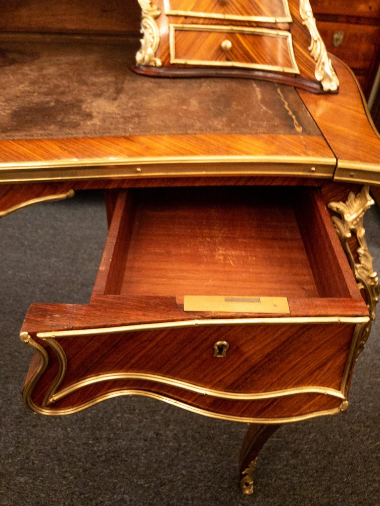 Antique French Rosewood and Gold Bronze Writing Desk, circa 1880-1890 For Sale 4