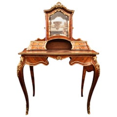 Antique French Rosewood and Gold Bronze Writing Desk, circa 1880-1890