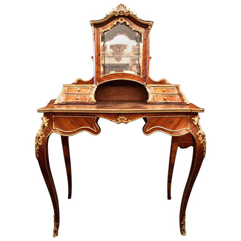 Antique French Rosewood and Gold Bronze Writing Desk, circa 1880-1890 For Sale