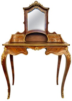 Antique French Rosewood and Gold Bronze Writing Desk or Vanity, circa 1880-1890