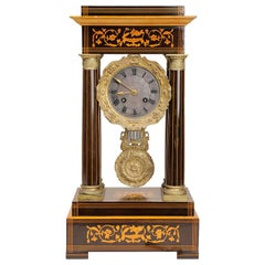 Antique French Rosewood and Satinwood Mantel Clock