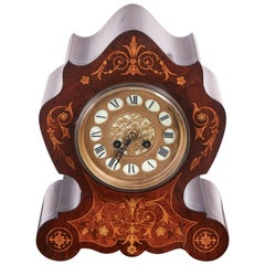 Antique French Rosewood Marquetry Inlaid 8 Day Mantel Clock