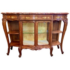 Antique French Rouge Marble-Top Walnut Buffet with Glass Doors, Circa 1890-1910