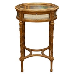 Antique French Round Hand-Carved and Gilded Display Table