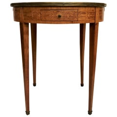 Antique French Round Lamp Table with Marble Top