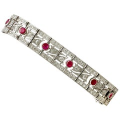 Antique 1935 French 2.45 Ct Ruby 6.85 Ct Diamond and Platinum Bracelet