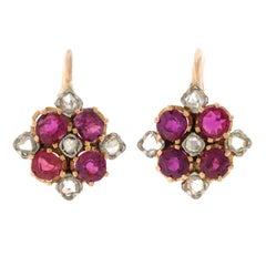 Antique French Ruby and Diamond Set Gold Earrings