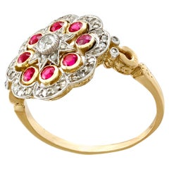 Antique French Ruby and Diamond Yellow Gold Dress Ring