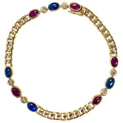 Antique French Ruby Sapphire Diamond Gold Bracelet