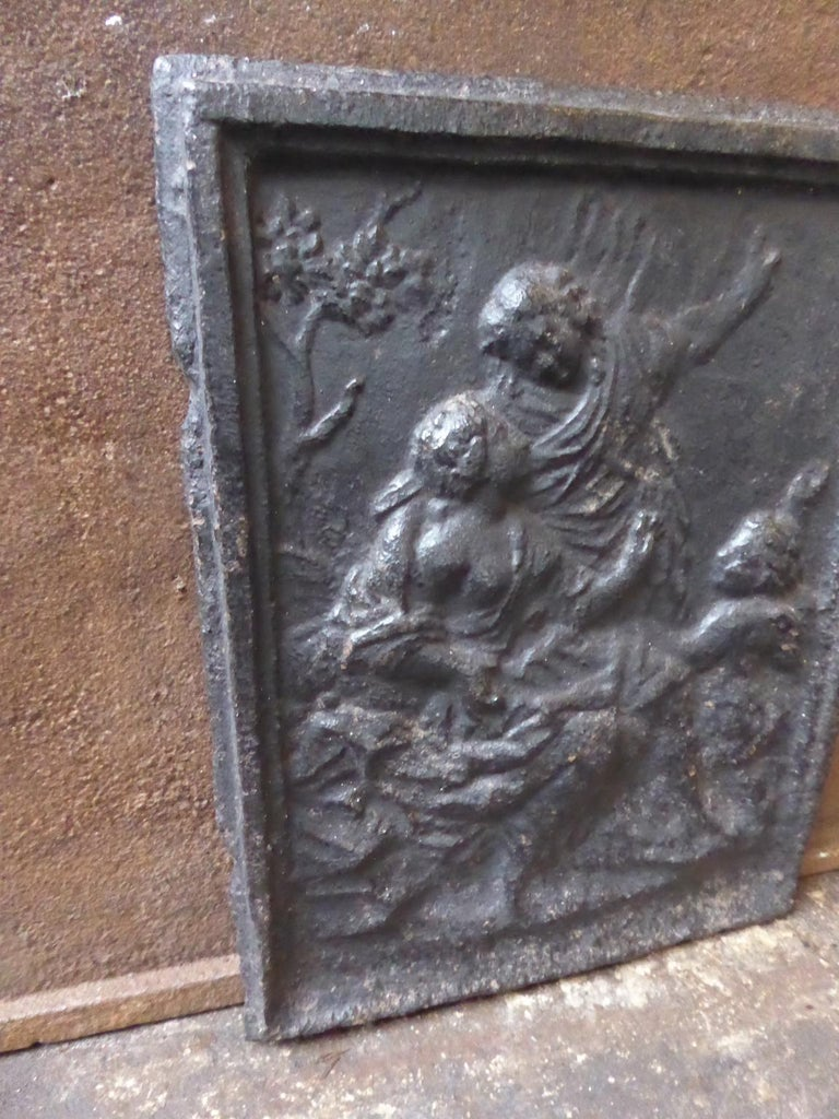 19th Century Antique French 'Rural Scene' Fireback For Sale