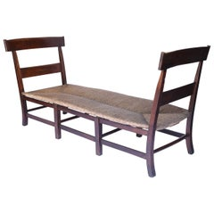 Antique French Rush Seat Bench