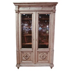 Antique French Rustic Oak Carved Bookcase