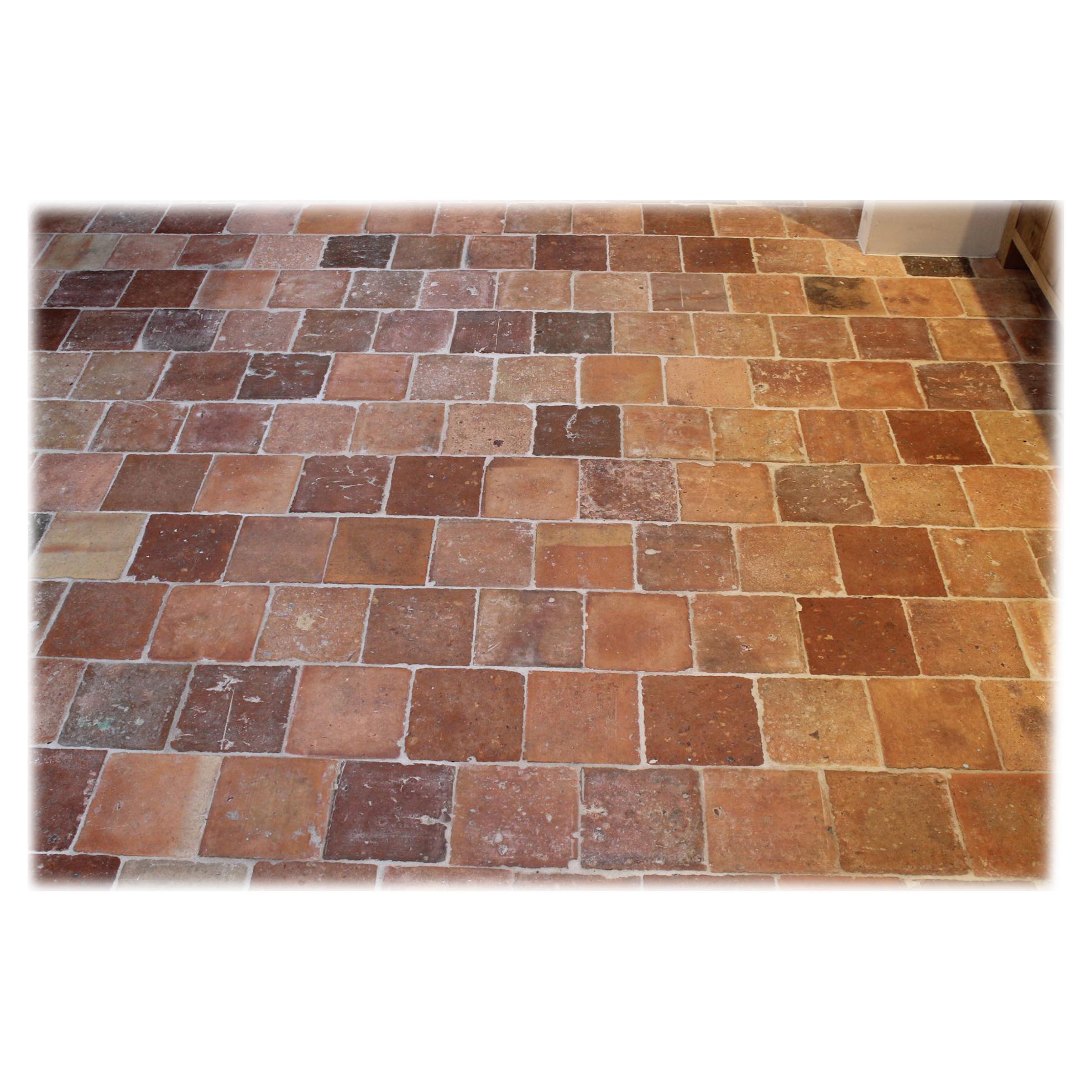 Antique French Salmon Nuanced Terracotta Floor Tiles