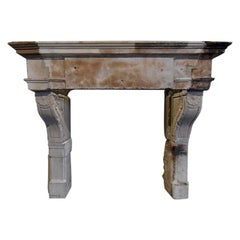 Antique French Sandstone Fireplace Mantel Piece, 18th Century