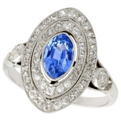 Antique French Sapphire and Diamond White Gold Marquise Ring