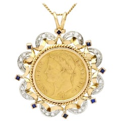Antique French Sapphire and Diamond Yellow Gold and Gold Coin Pendant