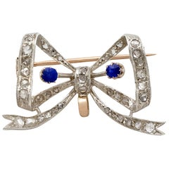 Antique French Sapphire and Diamond Yellow Gold Bow Brooch