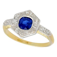Antique French Sapphire and Diamond Yellow Gold Cocktail Ring