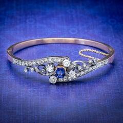 Antique French Sapphire Diamond Bangle 18 Carat Gold circa 1910 Boxed