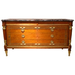 Antique French Satinwood Marble-Topped Commode