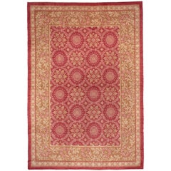 Antique French Savonnerie Carpet, Red Field