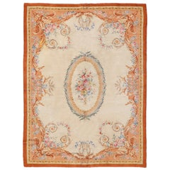 Antique French Savonnerie Rug with Ivory Background