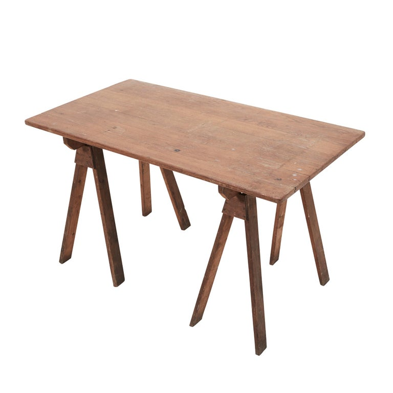 Antique French Sawhorse Table In Good Condition For Sale In New York, NY