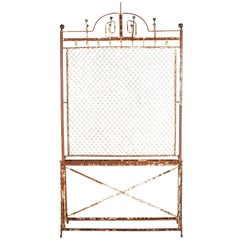 Antique French Screen Coat Rack with Hooks