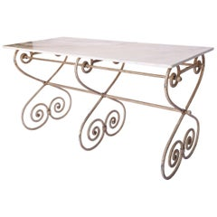 Antique French Scroll Iron Table with Marble Top