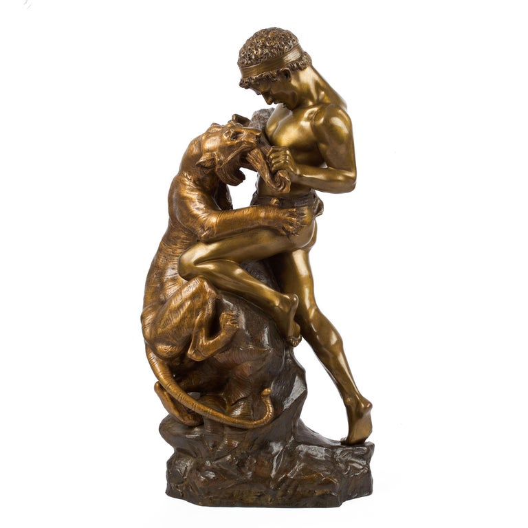 Antique French Sculpture of Man Fighting Tiger by Edouard Drouot For Sale 13