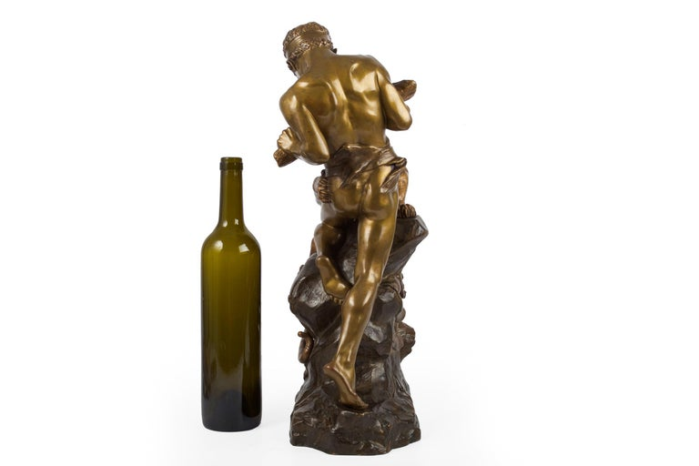 Carved Antique French Sculpture of Man Fighting Tiger by Edouard Drouot For Sale