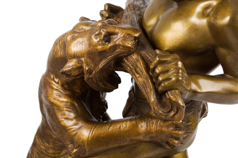 20th Century Antique French Sculpture of Man Fighting Tiger by Edouard Drouot For Sale