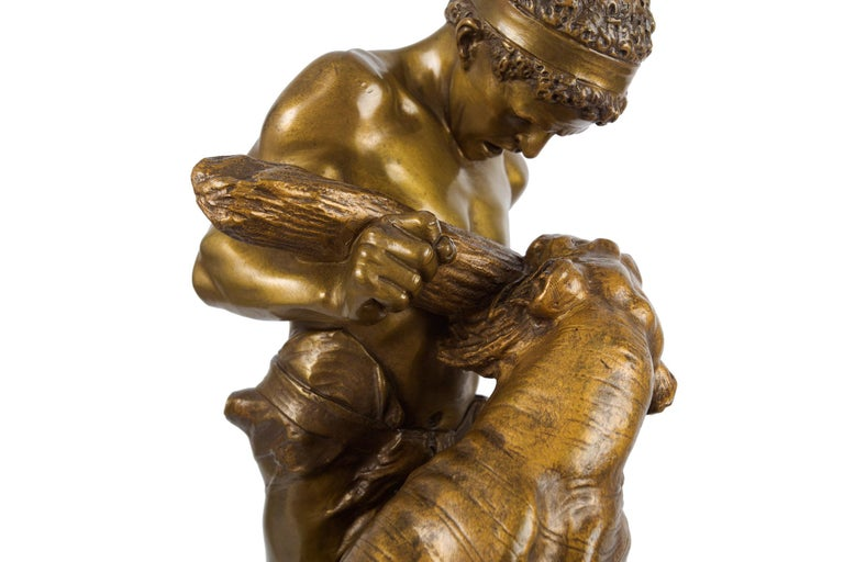 Antique French Sculpture of Man Fighting Tiger by Edouard Drouot For Sale 1