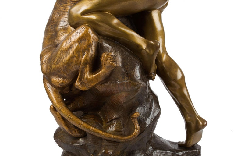 Antique French Sculpture of Man Fighting Tiger by Edouard Drouot For Sale 2