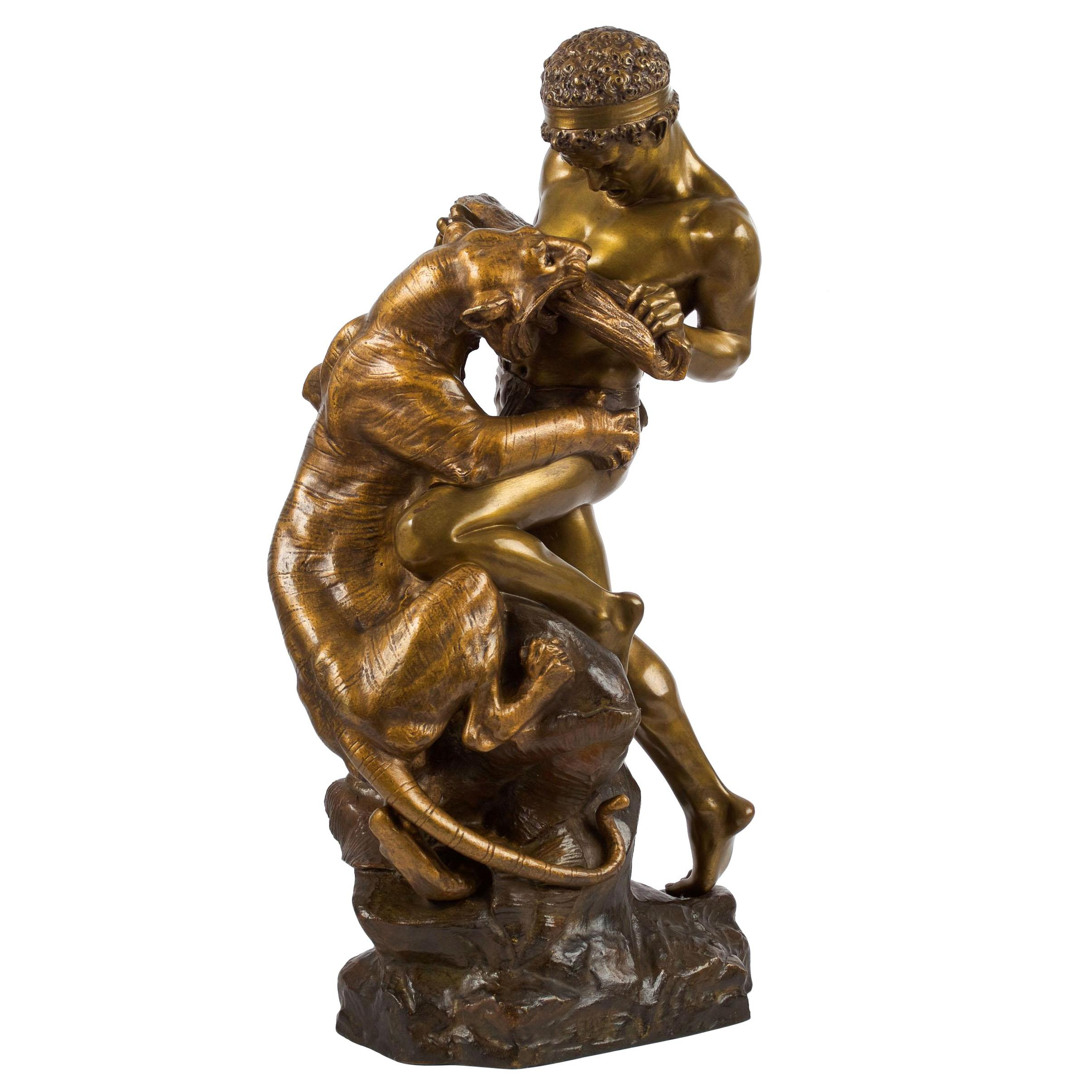 Antique French Sculpture of Man Fighting Tiger by Edouard Drouot