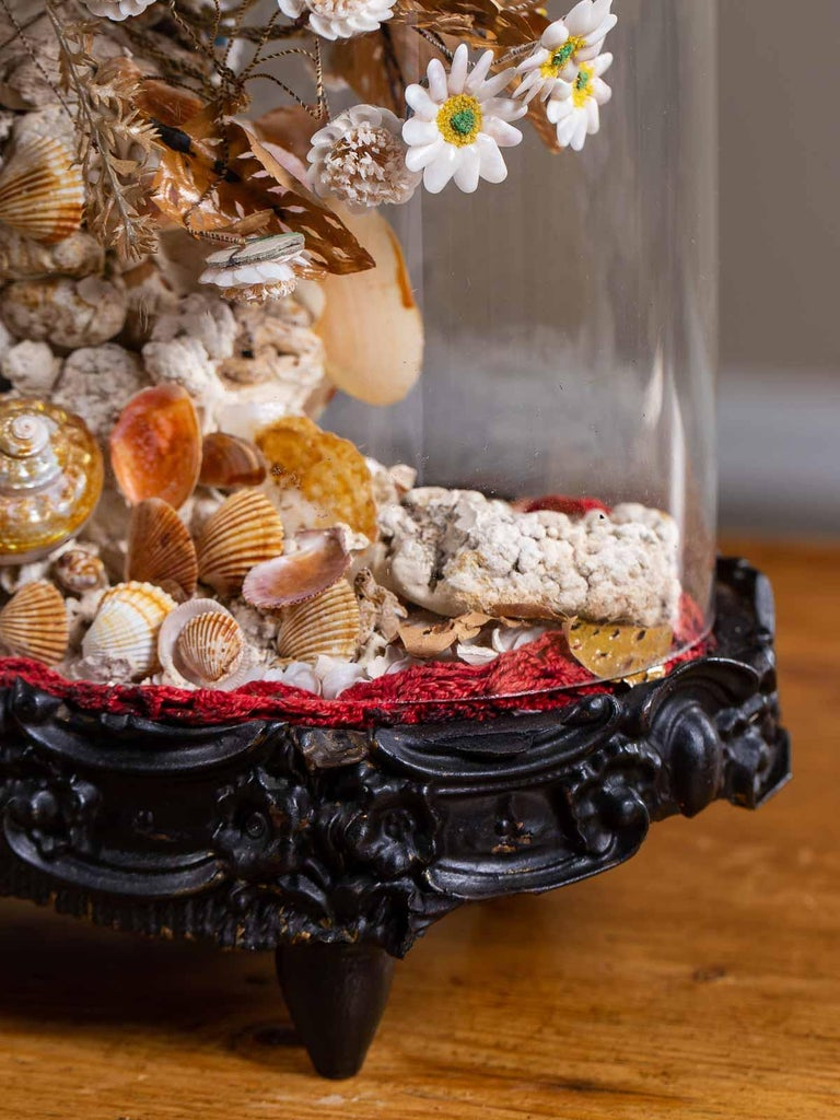 Antique French Sea Shell Floral Display under Glass Dome, France, circa 1870 11