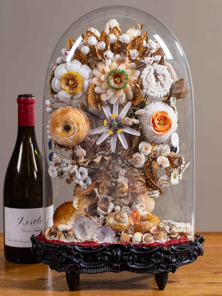 A charming antique French Napoleon III period floral display made of individual sea shells circa 1870 mounted under a glass dome (cloche) upon a shaped black wooden stand. This marvellous example of French hand work is exceptionally beautiful as it